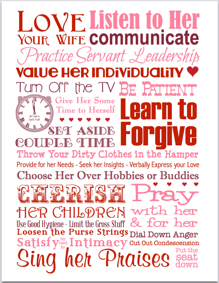 Love Your Wife | subway art printable from http://alltruthisgodstruth.com